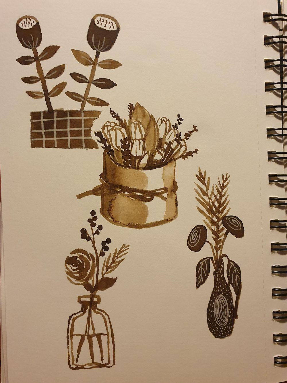 Sepia ink flowers - image 2 - student project