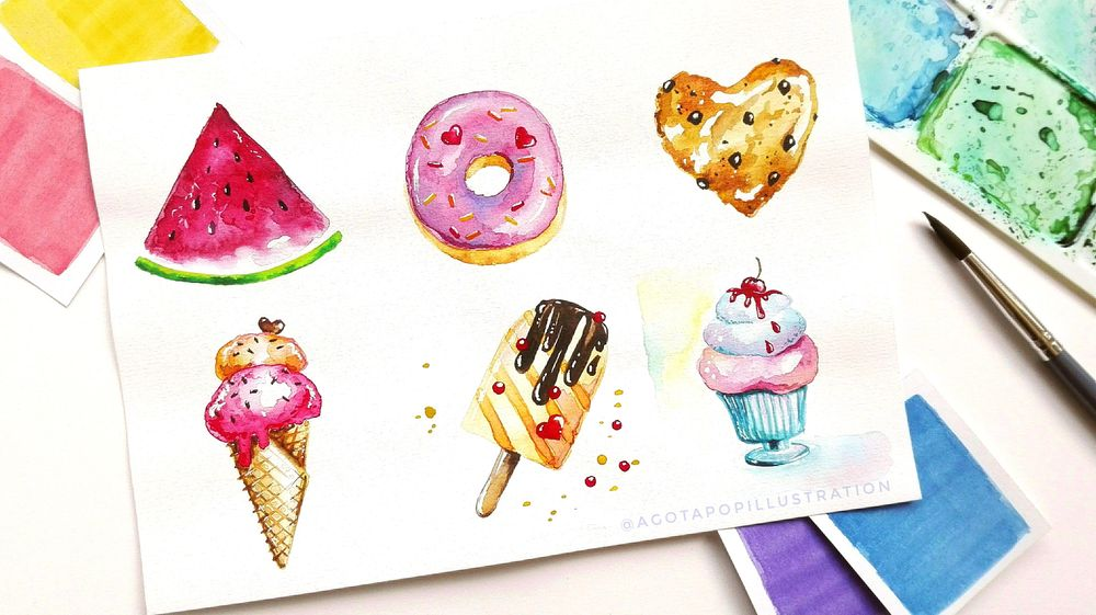 Watercolour sweets. - image 2 - student project
