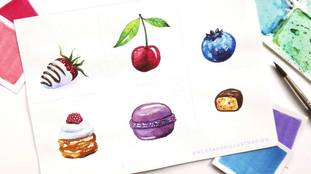 Watercolour sweets. - image 3 - student project