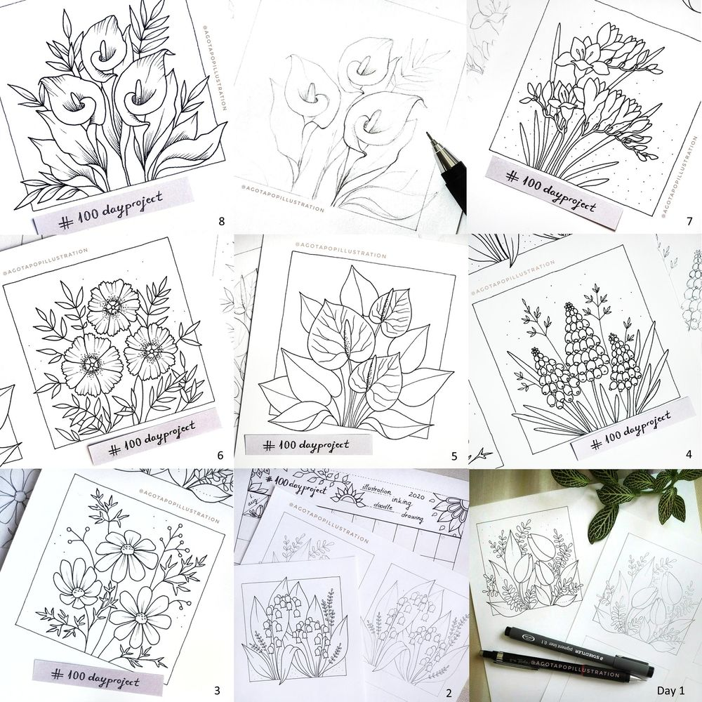 100 day of inking - Botanical illustrations - image 25 - student project