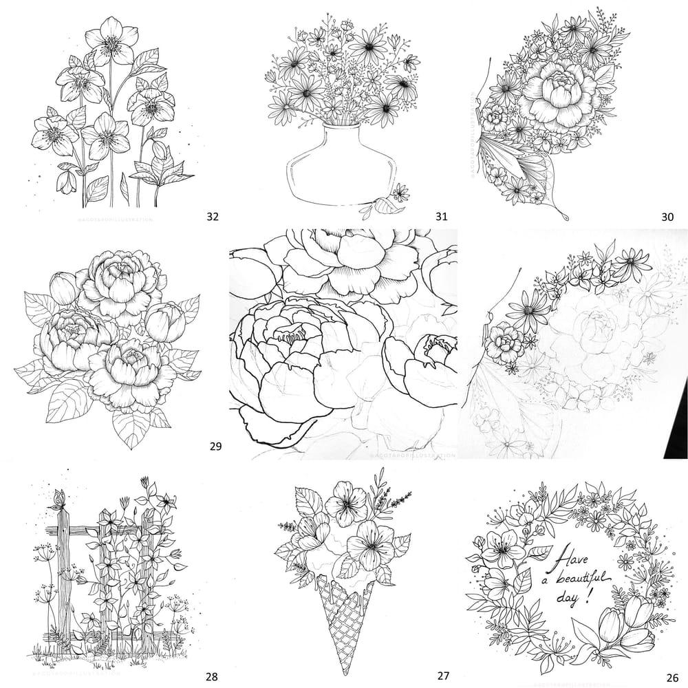 100 day of inking - Botanical illustrations - image 22 - student project
