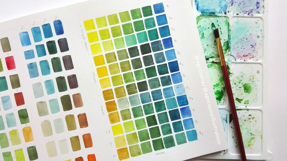 Mixing watercolour greens. - image 2 - student project