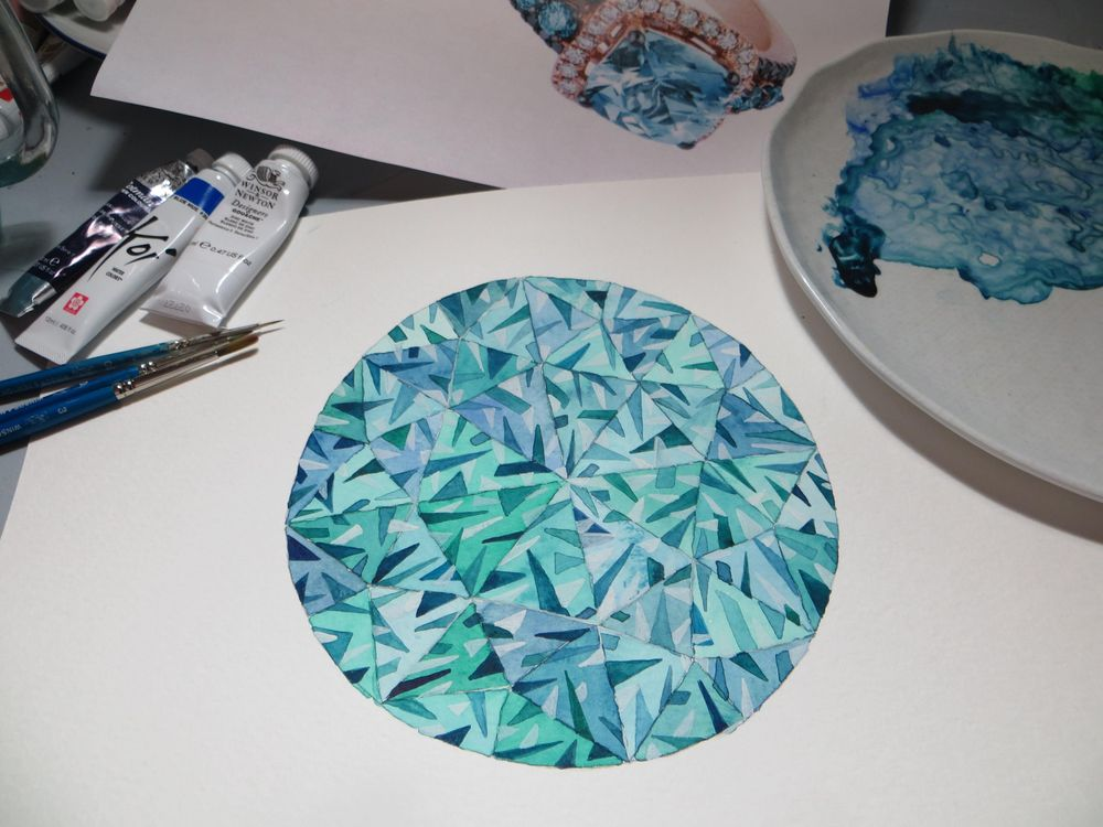 Watercolor Gems & Jewelry - 3rd Update - lots of practice ! - image 4 - student project