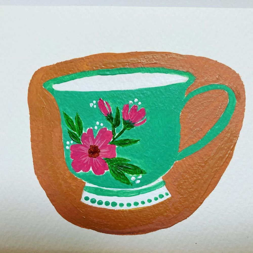 Floral teacups in Gouache - image 1 - student project