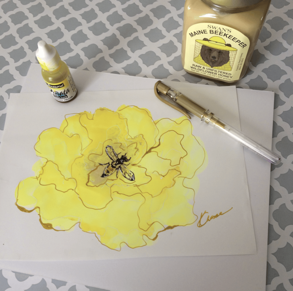 Flower Doodle with a little Bee! - image 1 - student project