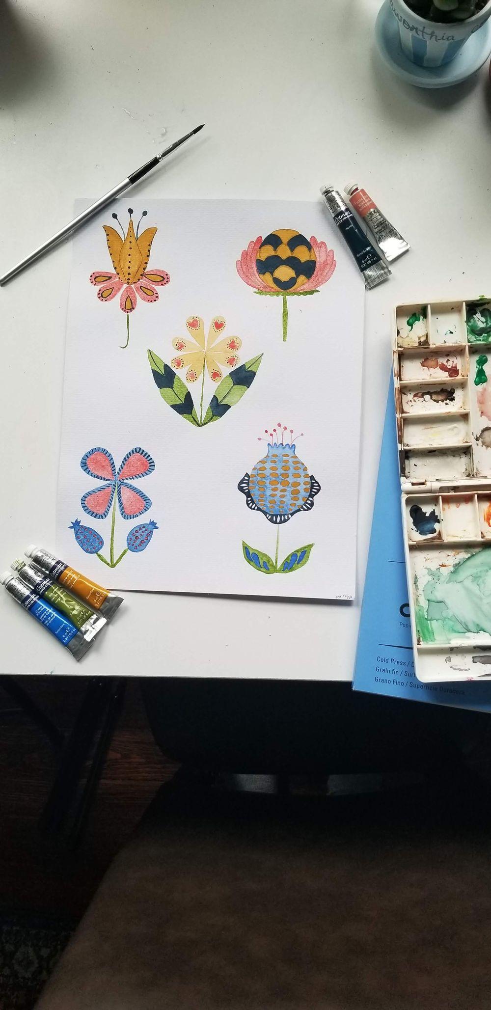 Modern Folk Flowers - image 2 - student project