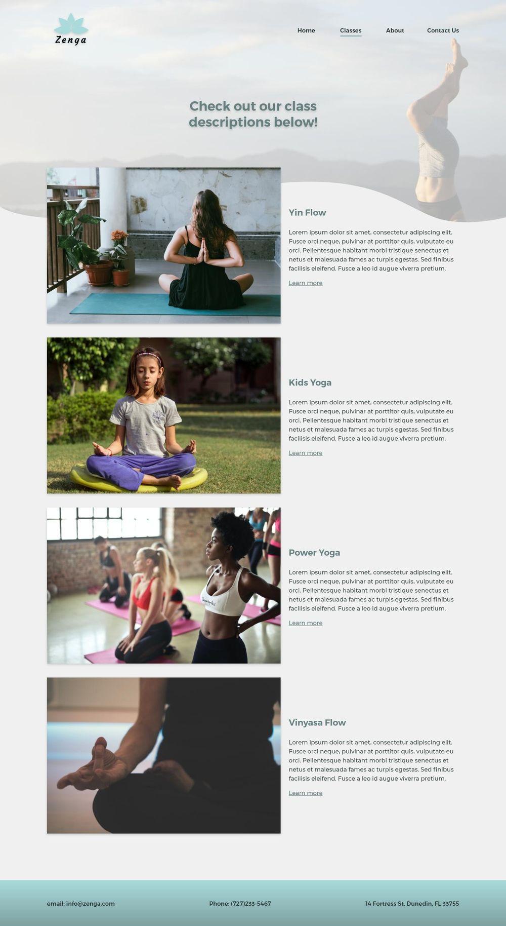 Yoga Studio Website Design - image 3 - student project