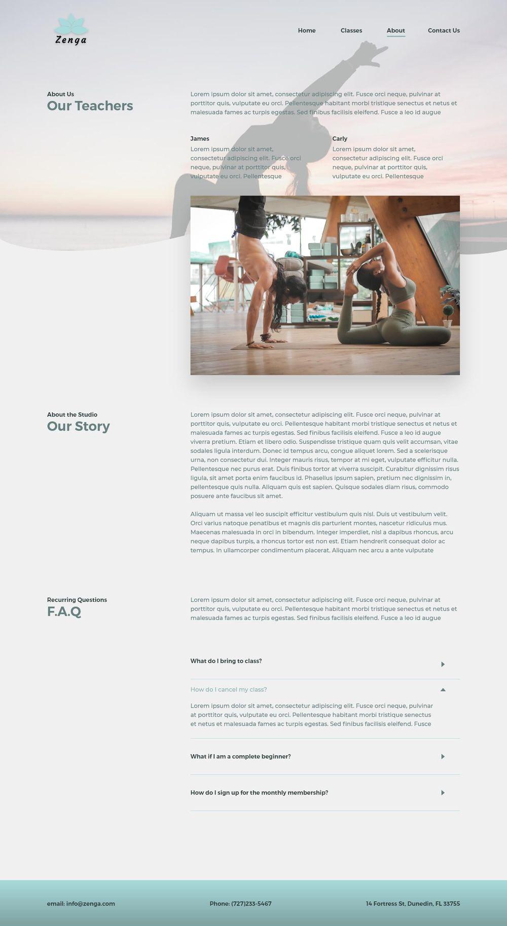 Yoga Studio Website Design - image 4 - student project