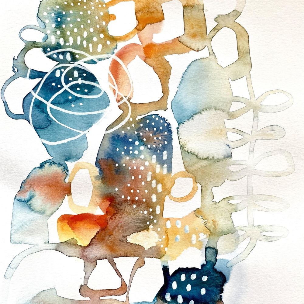 Abstract watercolours with pen detail - image 2 - student project