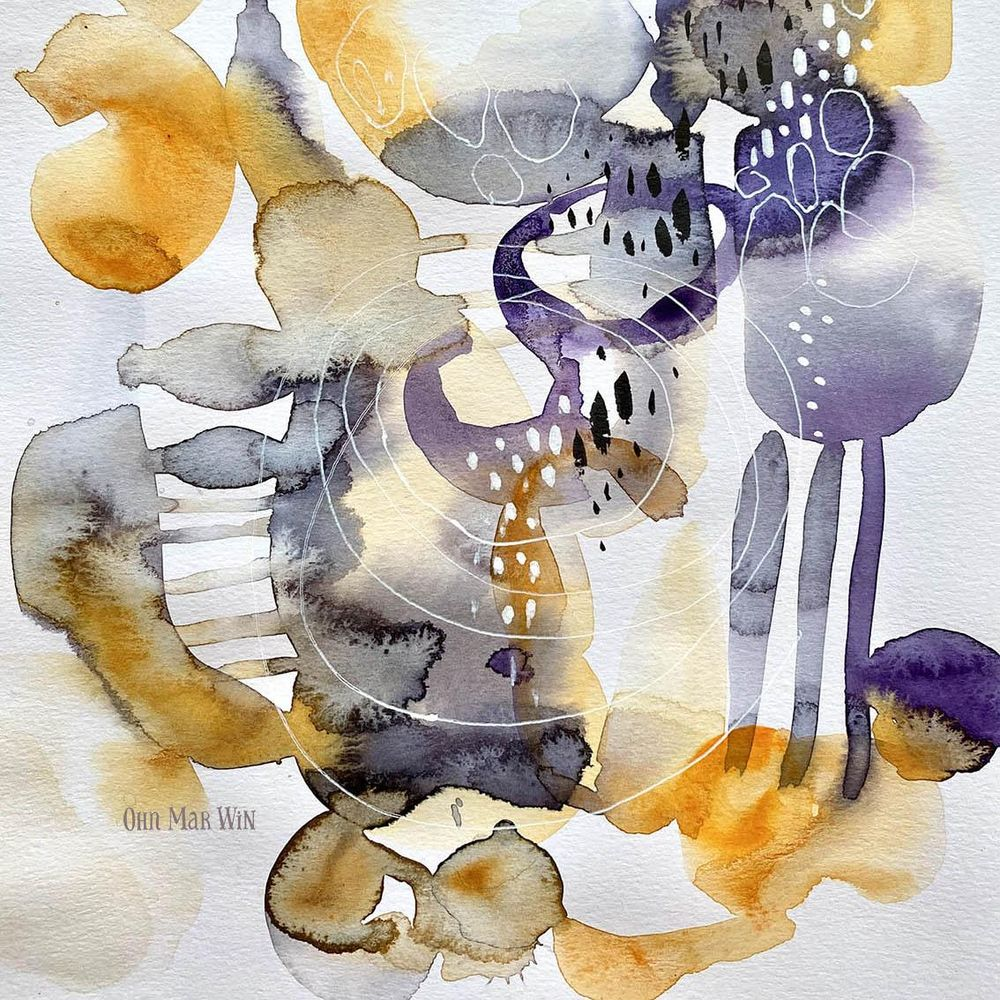 Abstract watercolours with pen detail - image 4 - student project