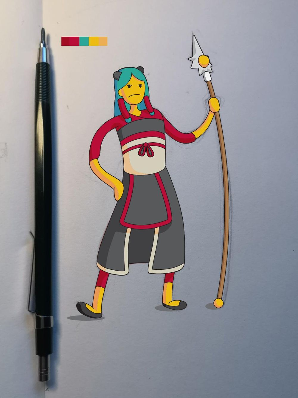 Lady Dragon Warrior [Vector Illustration] - image 1 - student project