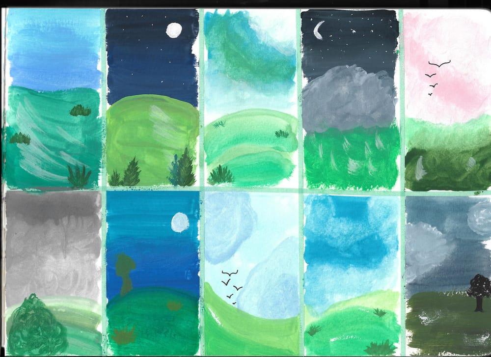 Tiny Gouache Landscapes - image 1 - student project