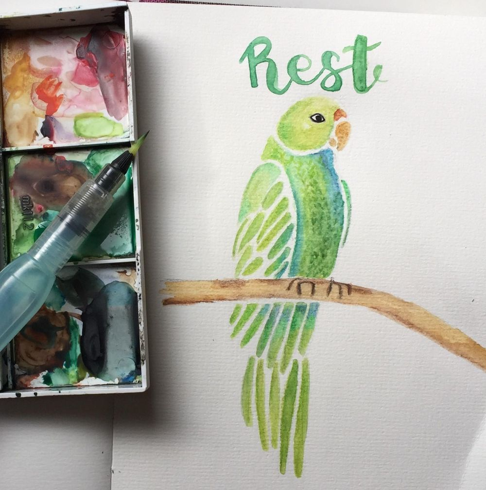 Parrot in watercolor - image 1 - student project
