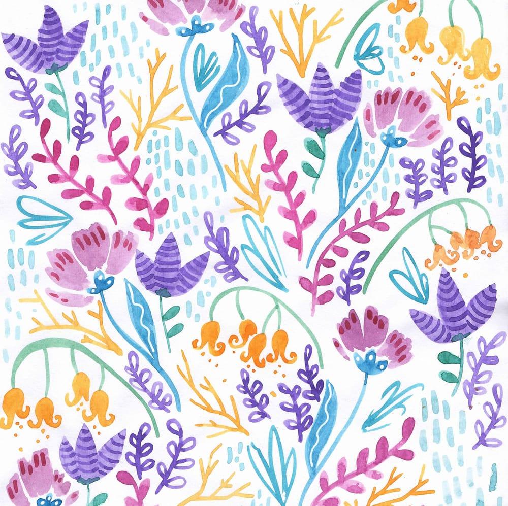 Watercolor Wonderland Flowers Pattern - image 1 - student project