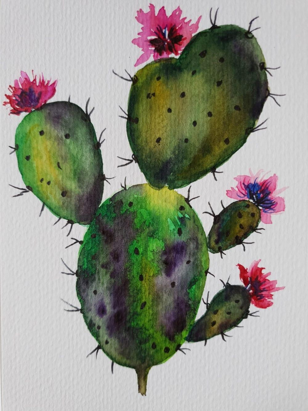 Watercolor Cacti - image 2 - student project