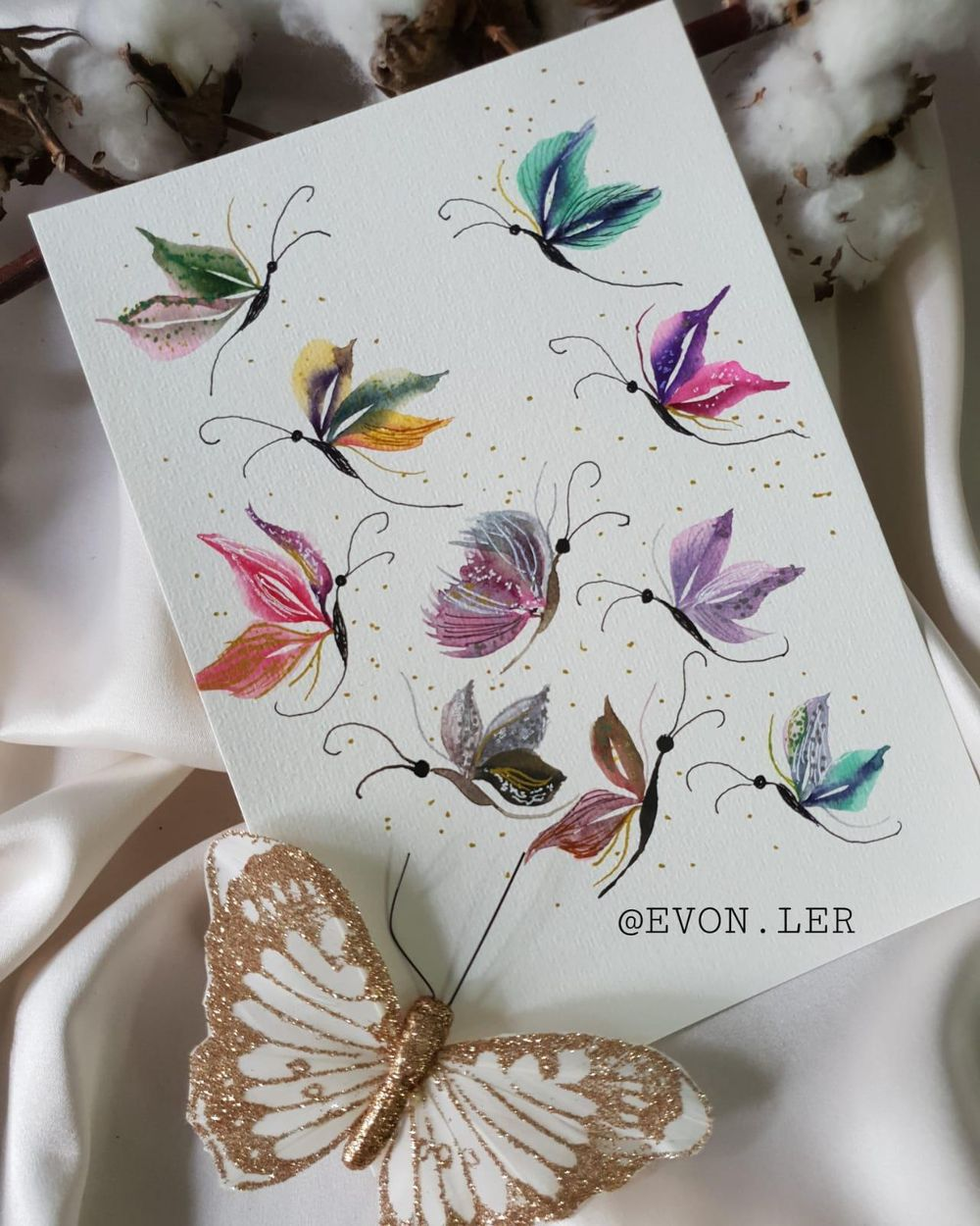 Watercolor Butterflies With Wedge Brush - image 1 - student project