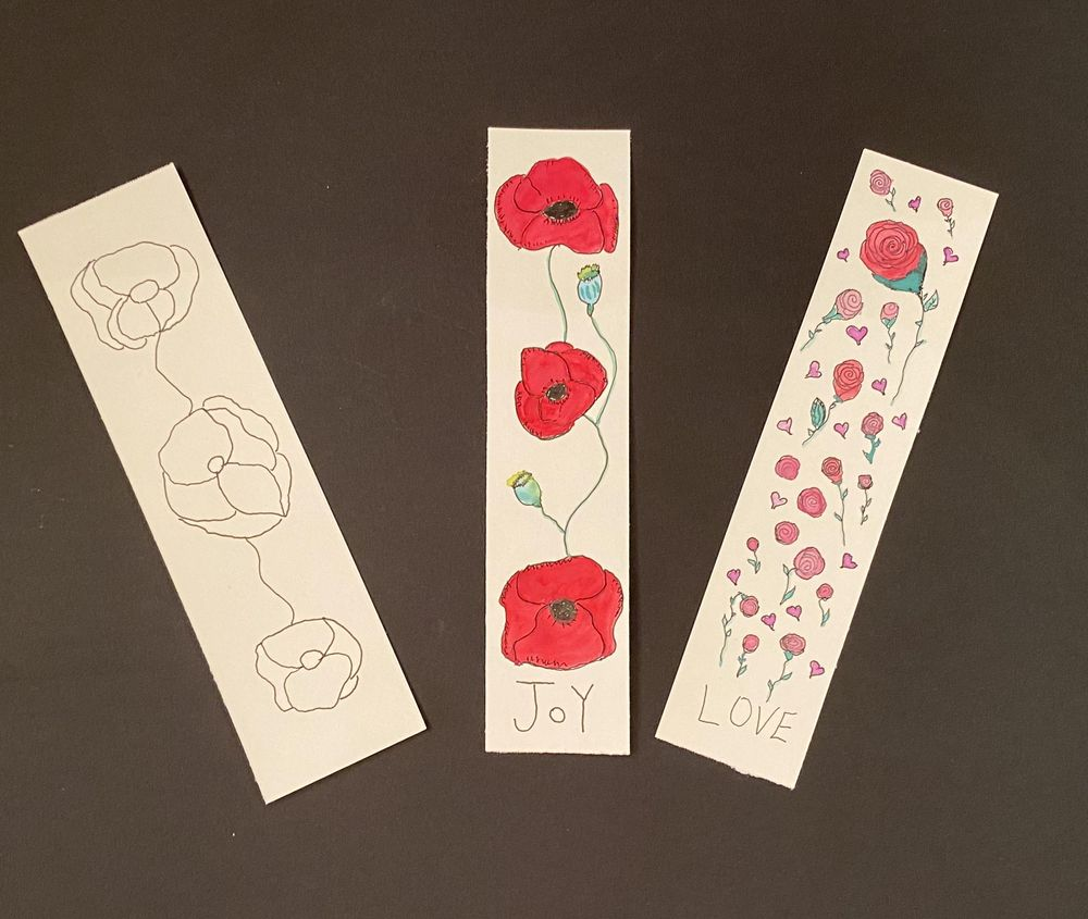 Botanical Line Drawing Bookmarks - image 2 - student project