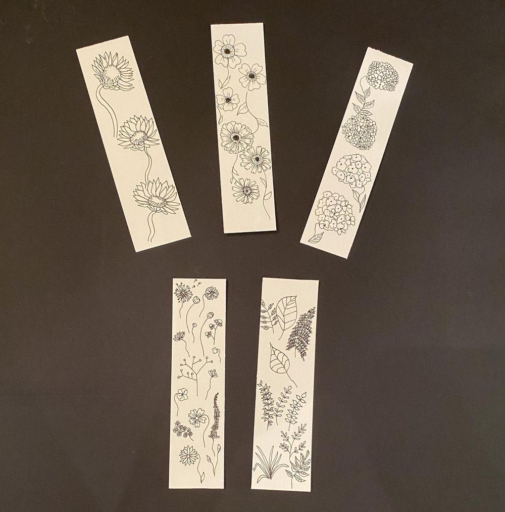 Botanical Line Drawing Bookmarks - image 1 - student project