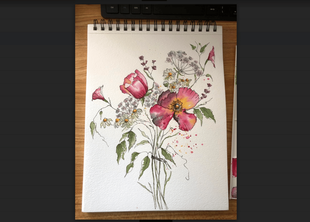 5 Flowers in Watercolor and Ink - image 3 - student project