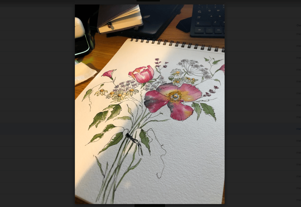 5 Flowers in Watercolor and Ink - image 2 - student project