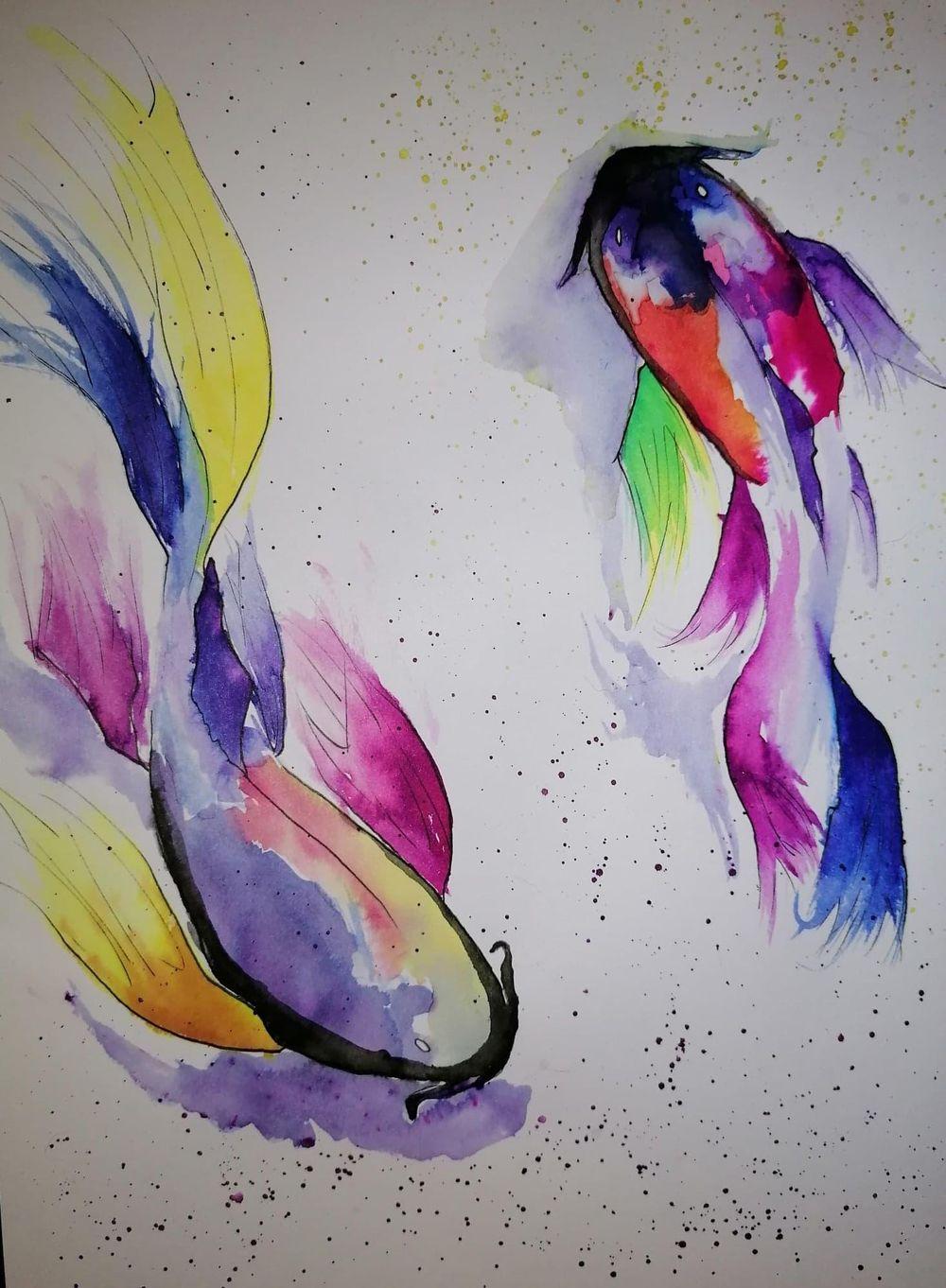 Koi Fish Liquid Watercolour - image 1 - student project