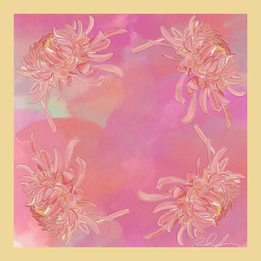 Vera Neumann Inspired Scarf Design-Chrysanthemums - image 1 - student project