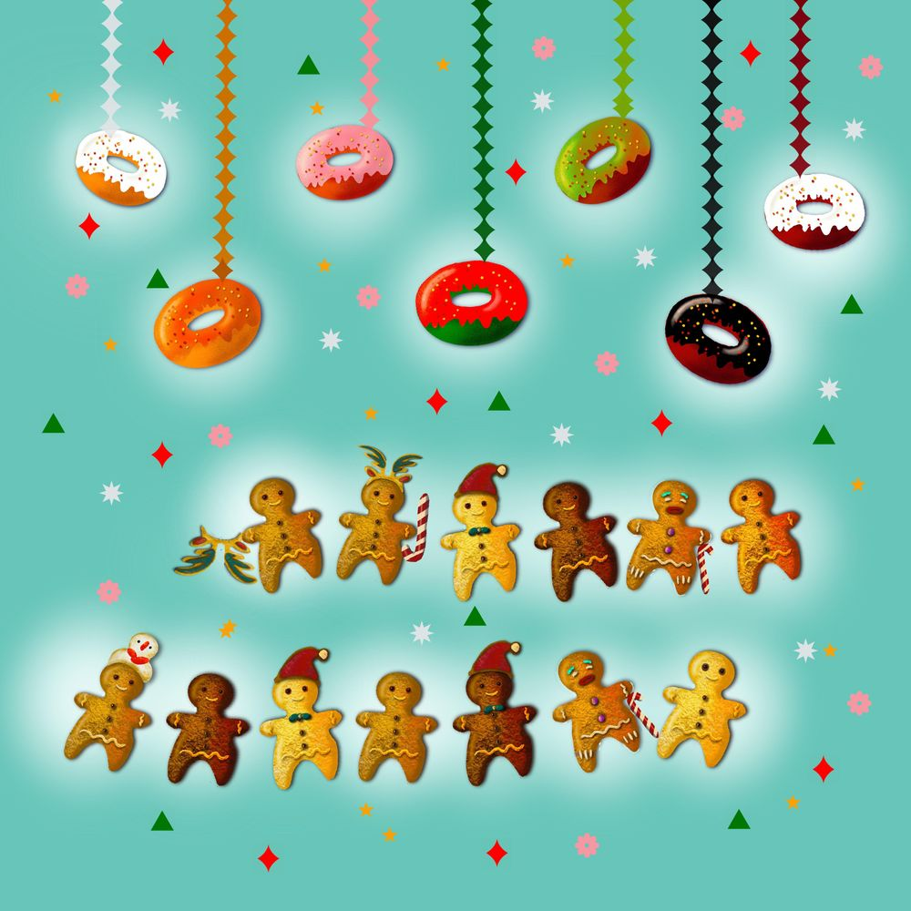 Gingerbread men and their donuts - image 2 - student project