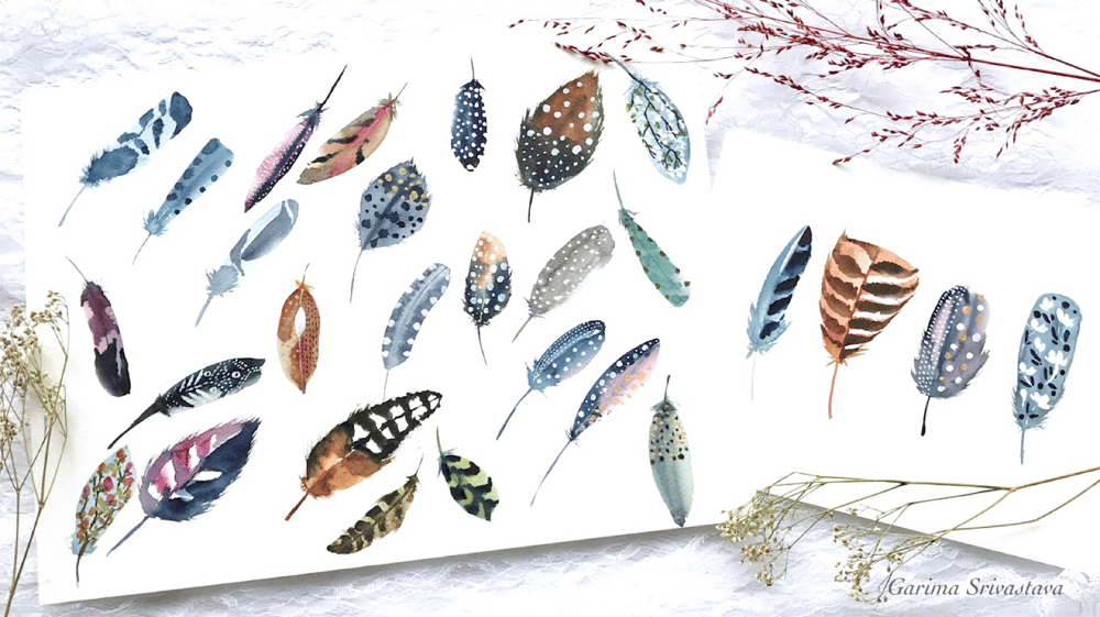 Decorative Watercolor Feathers: Class Project Reference - image 1 - student project