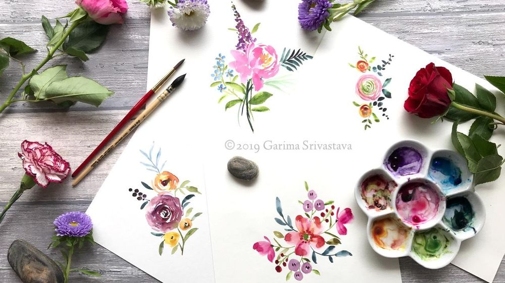 Watercolor Loose Florals: Class Project Sample - image 2 - student project