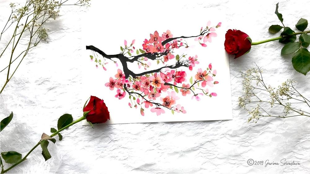 Watercolor Cherry Blossoms: 3 Fun and Easy Projects - image 1 - student project