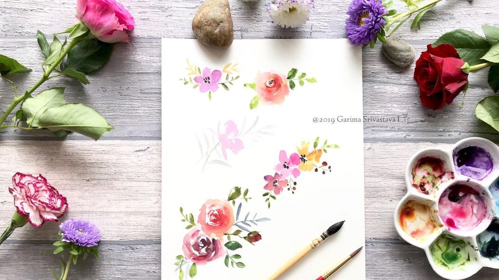 Watercolor Loose Florals: Class Project Sample - image 1 - student project