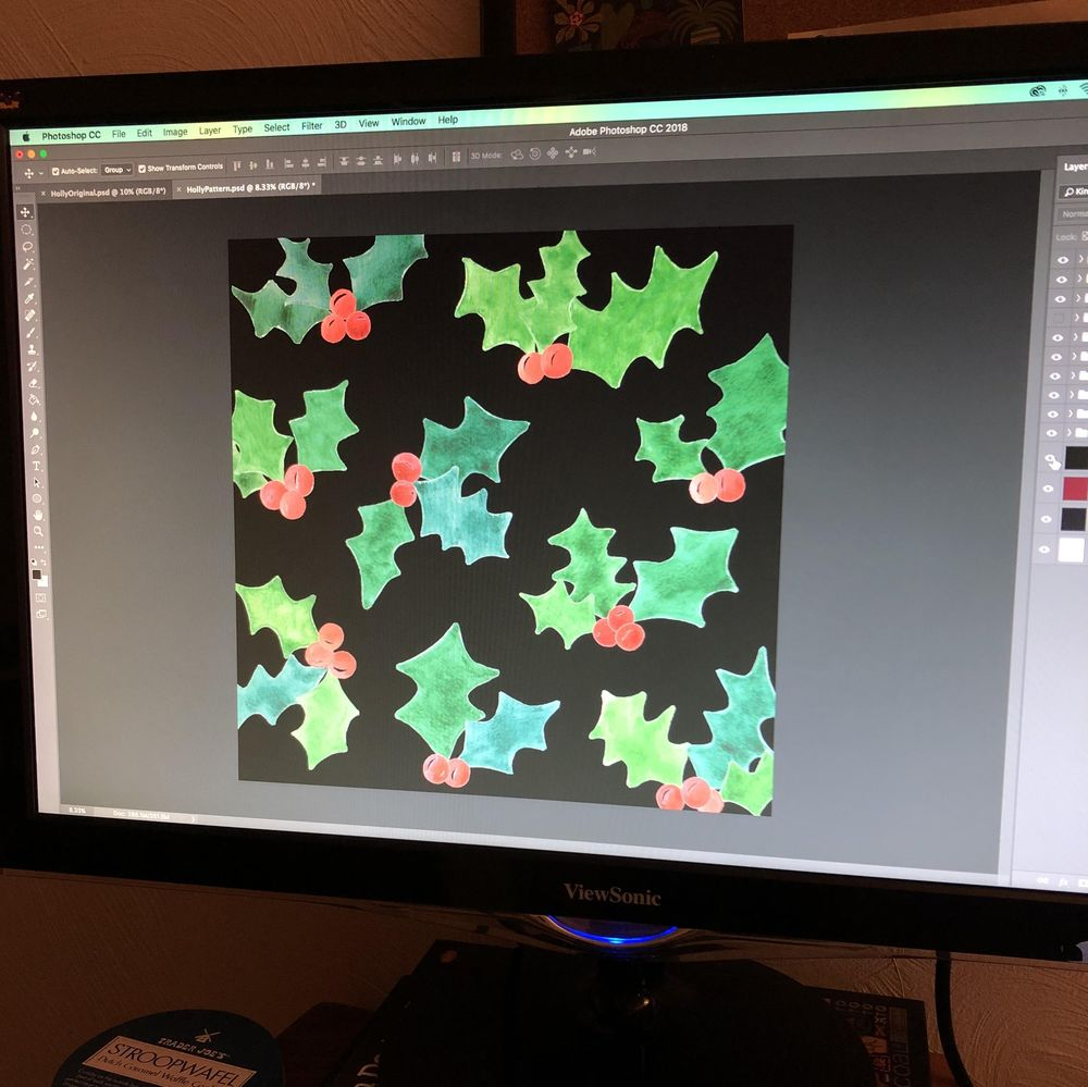 Holly Jolly Watercolor Pattern - image 3 - student project