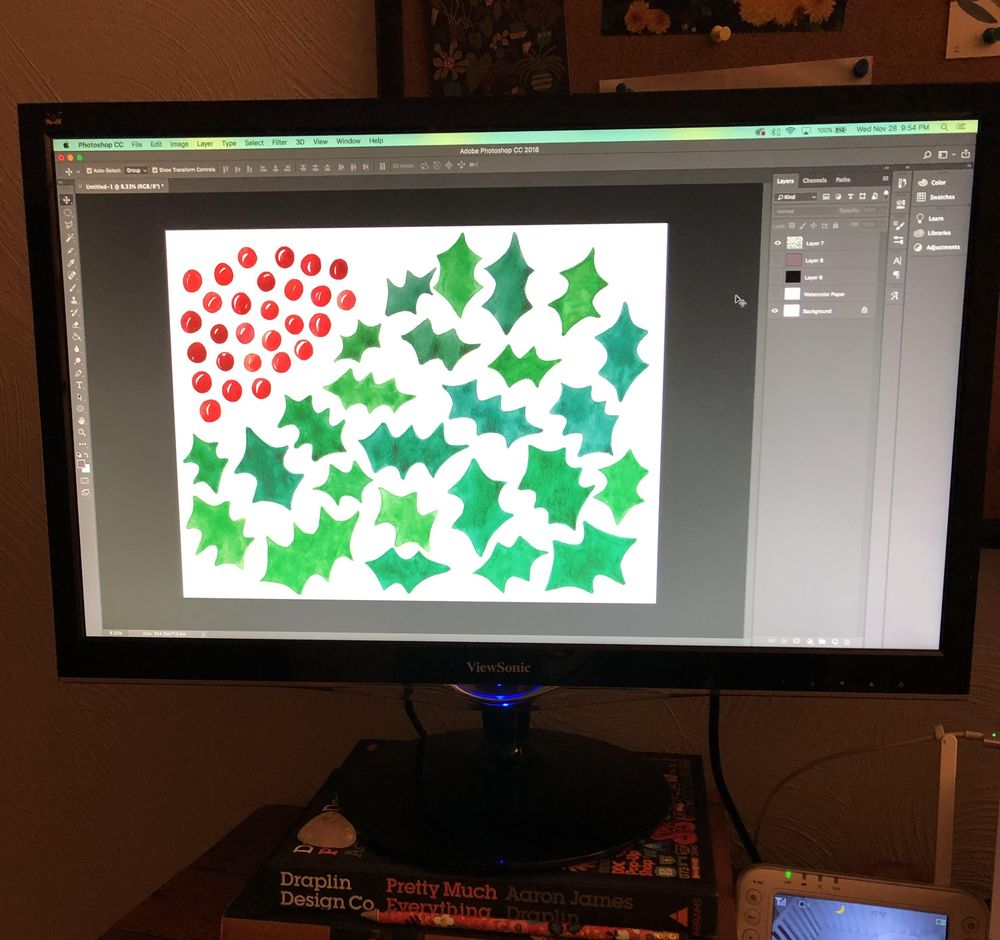 Holly Jolly Watercolor Pattern - image 2 - student project