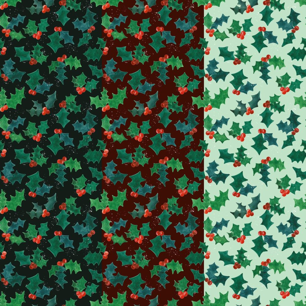 Holly Jolly Watercolor Pattern - image 4 - student project