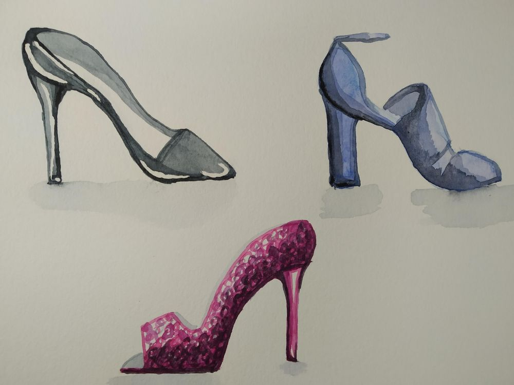 Watercolor Shoes - image 1 - student project