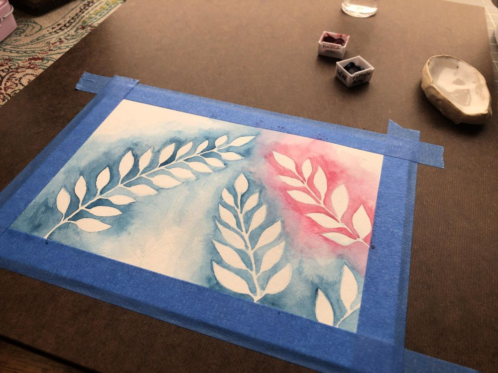 Negative Space Watercolor Leaves - image 2 - student project