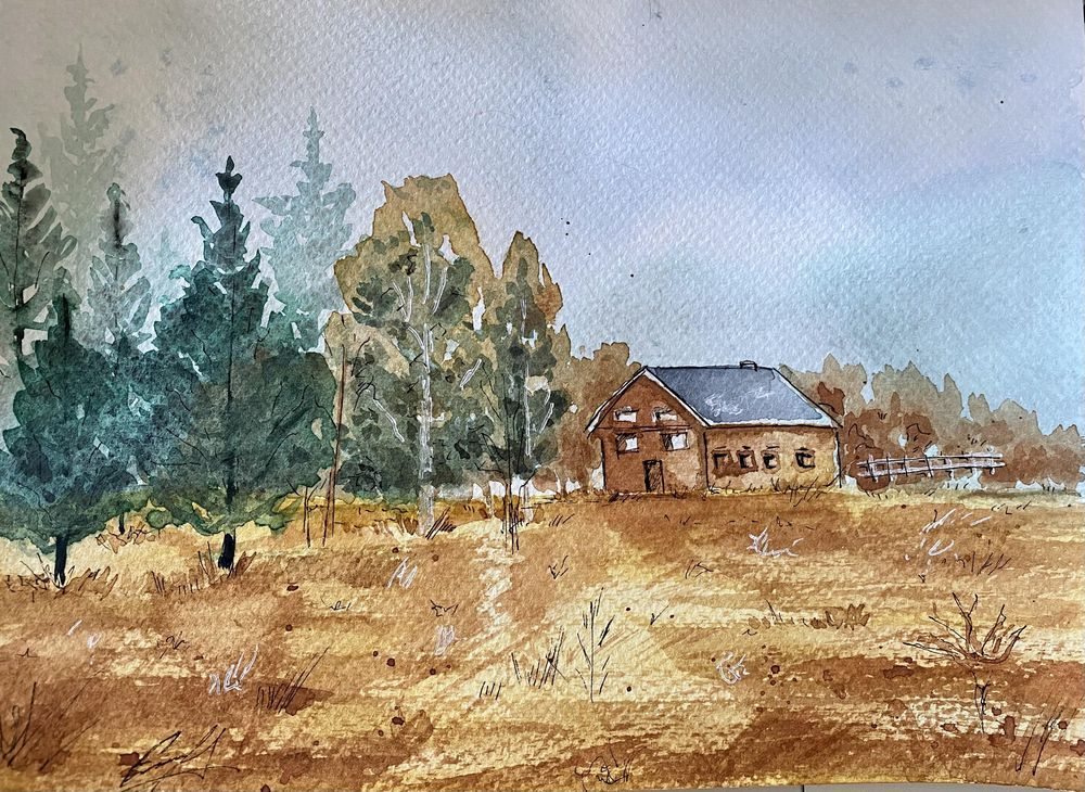 Landscape in watercolor - image 1 - student project