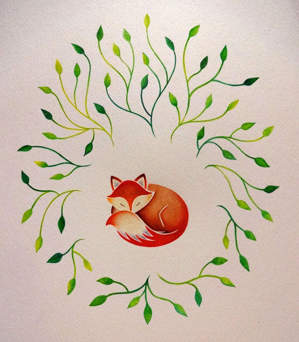 Sleeping Fox with Leaves - image 1 - student project