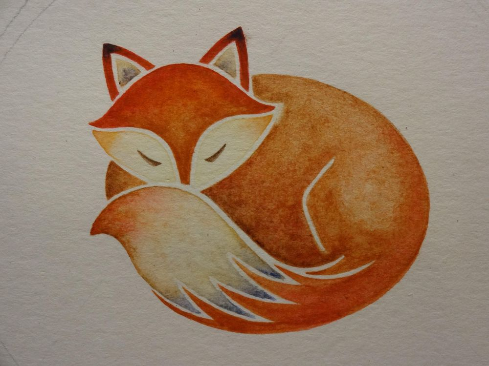 Sleeping Fox with Leaves - image 2 - student project
