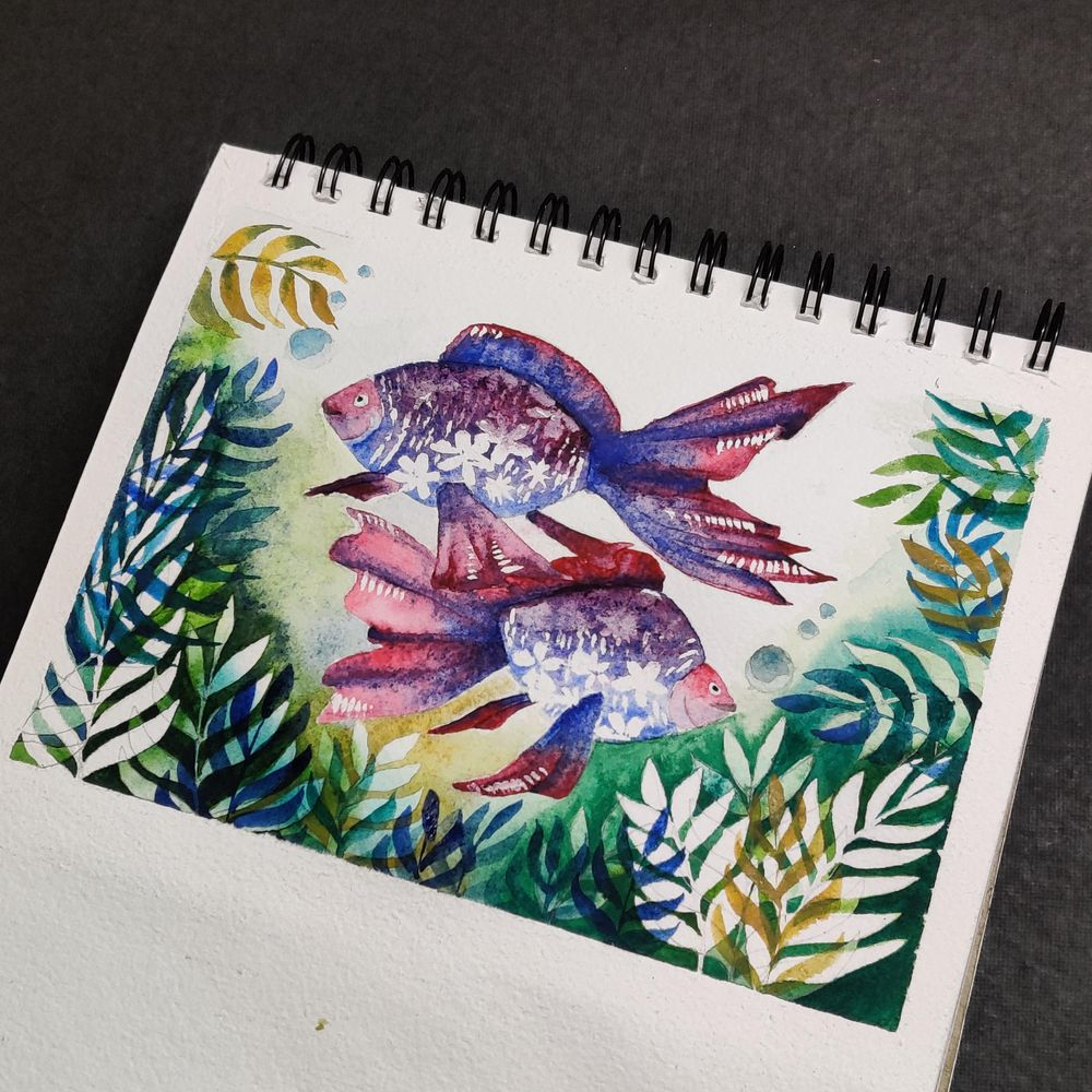Negative painting and floral Fish - image 1 - student project