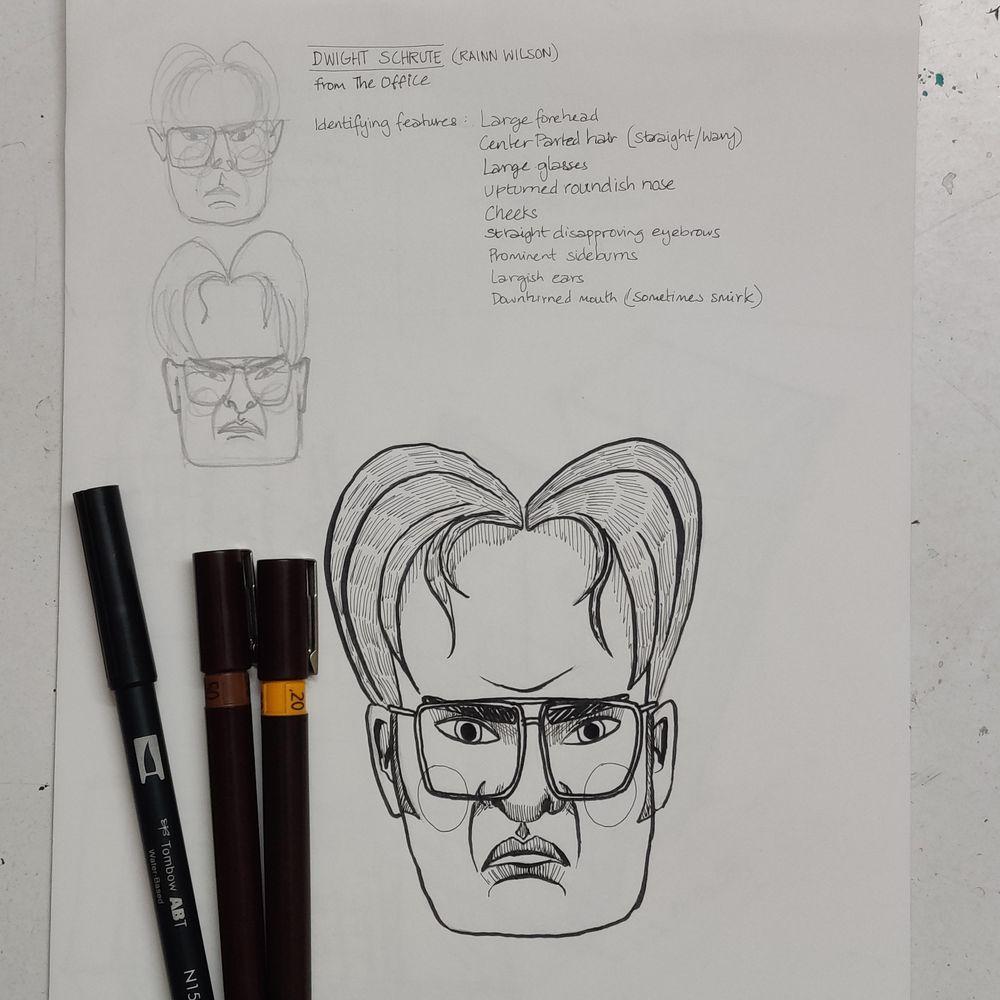 Dwight Schrute caricature - image 1 - student project