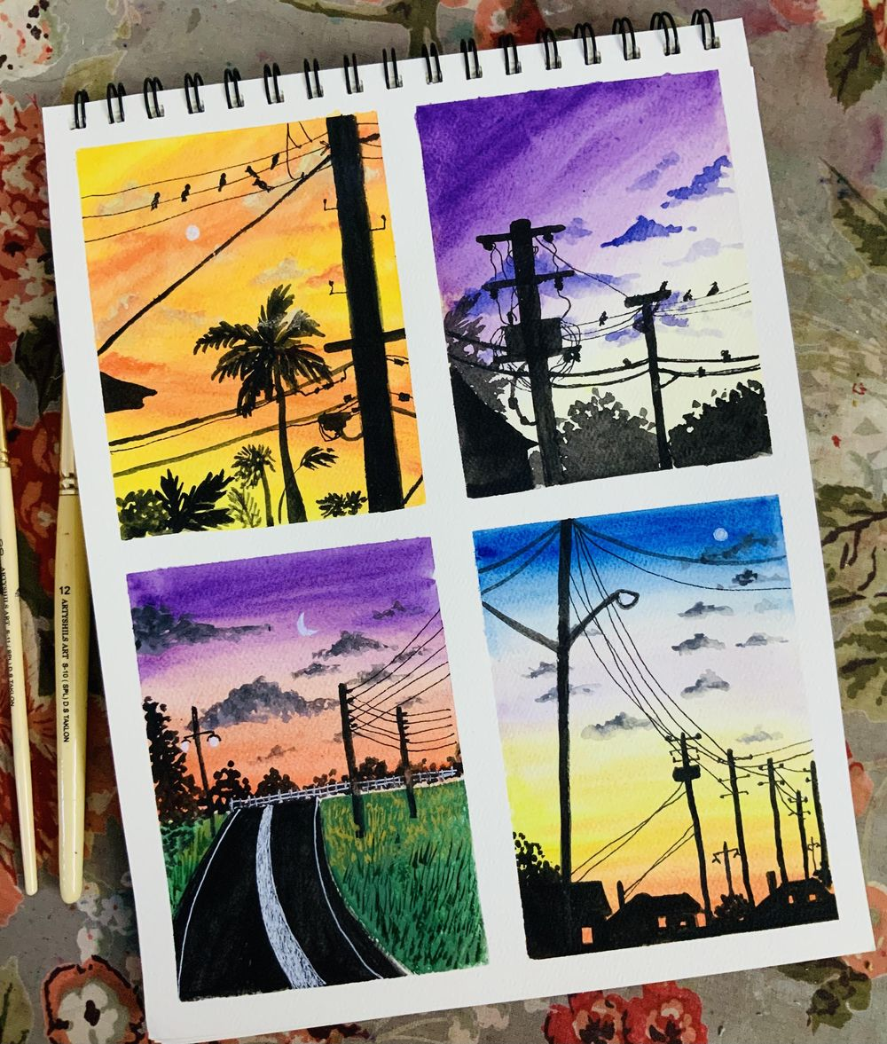 Sunset skies in gouache - image 1 - student project