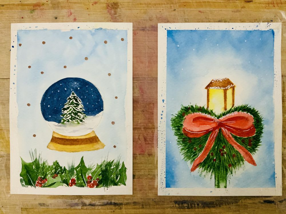 Watercolor christmas cards - image 1 - student project