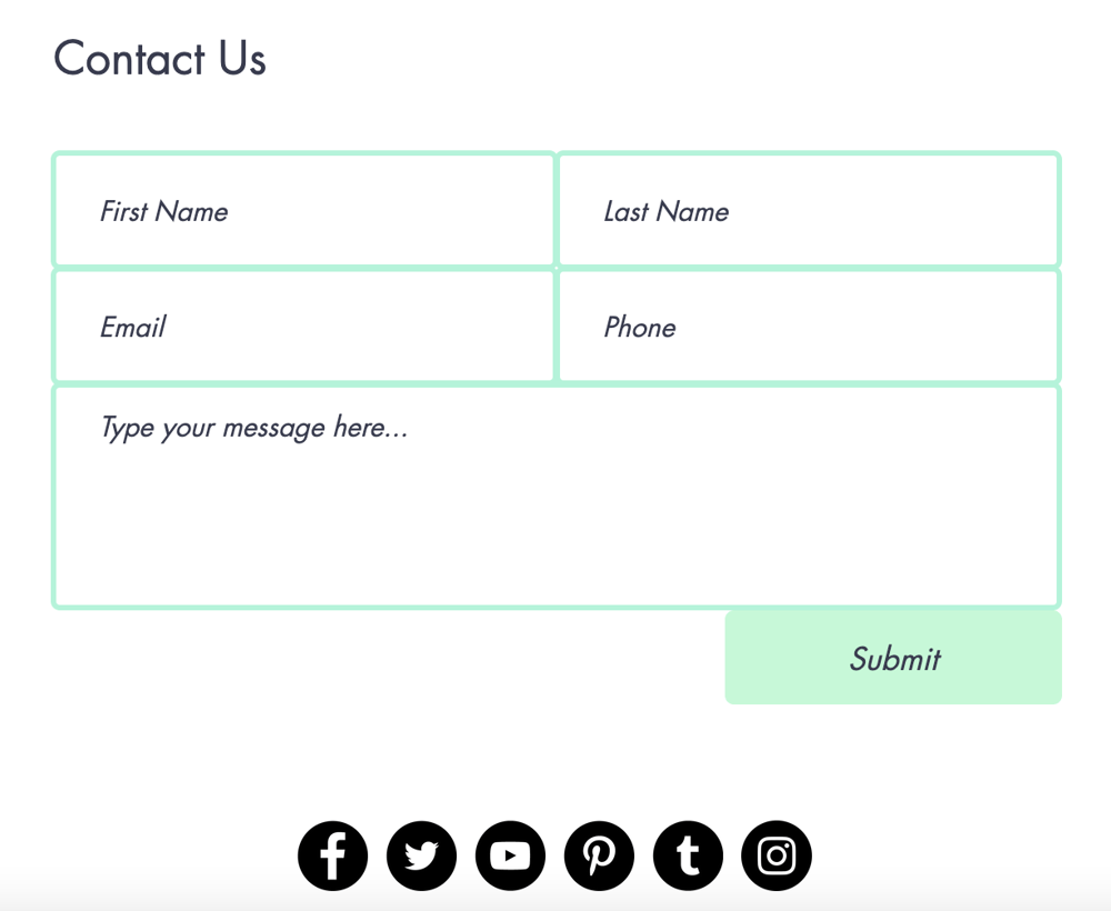 The contact form that we will create for the site - image 1 - student project