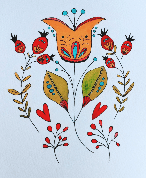Modern Botanical Folk Art - image 1 - student project
