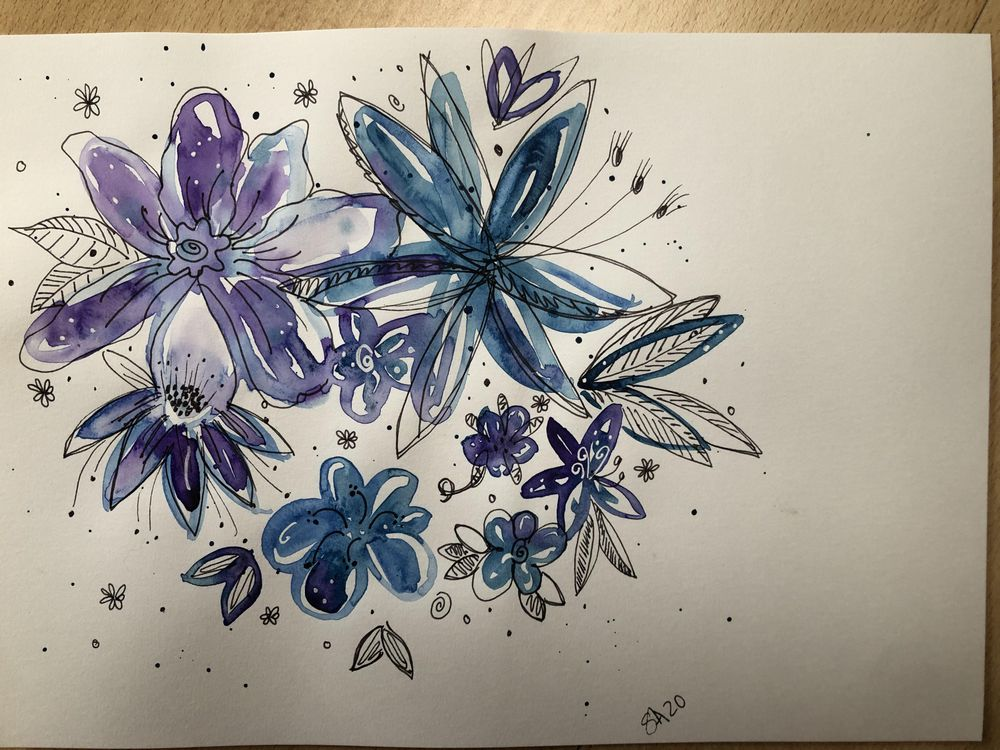 Ink & Watercolor Doodles - image 1 - student project