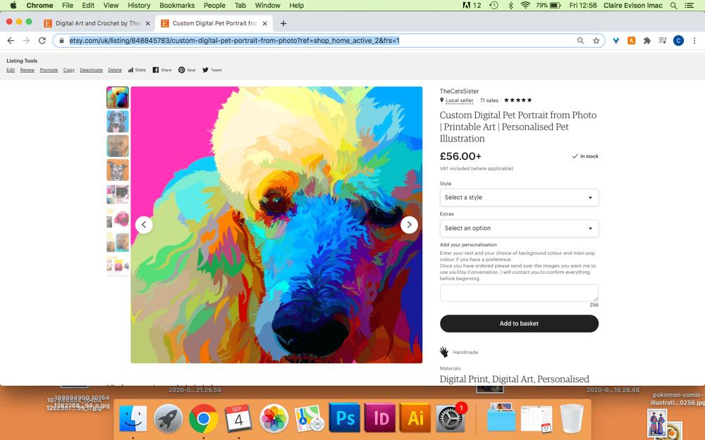 Etsy Listing: Pet Portraits - image 1 - student project