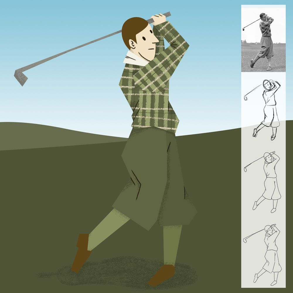 Playing golf in 1930 - image 1 - student project