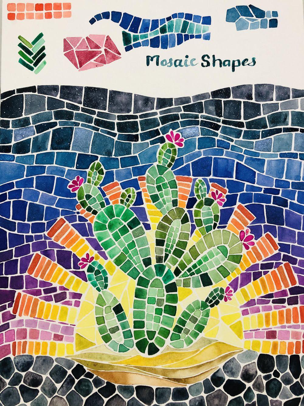 Desert Cacti Horizon Watercolor Mosaic process and final piece - image 4 - student project