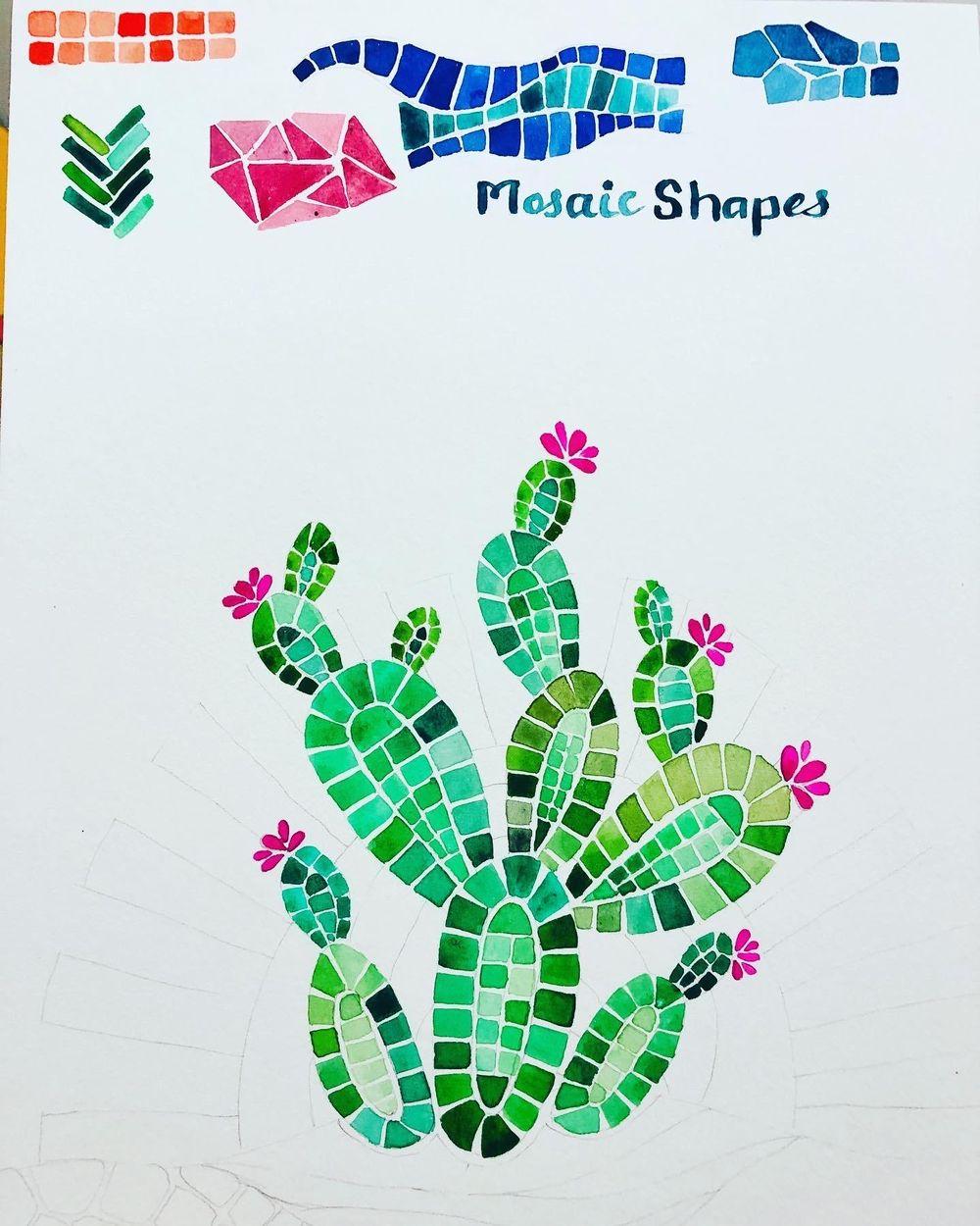 Desert Cacti Horizon Watercolor Mosaic process and final piece - image 1 - student project